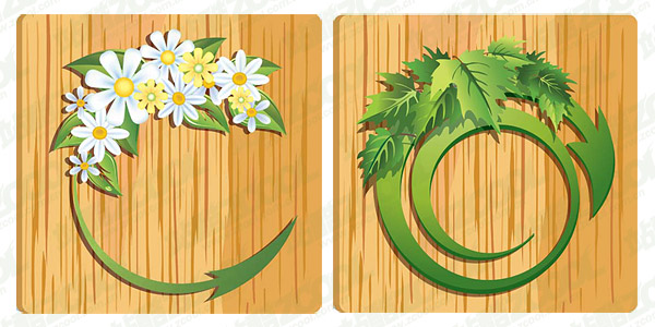 Vector Flor deja material de grano