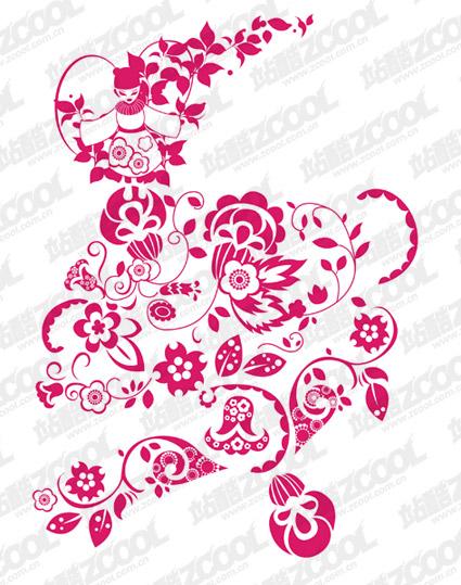 Vector de patrón de papel cortado estilo chino