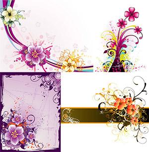 美しい花パターン ベクトル材料