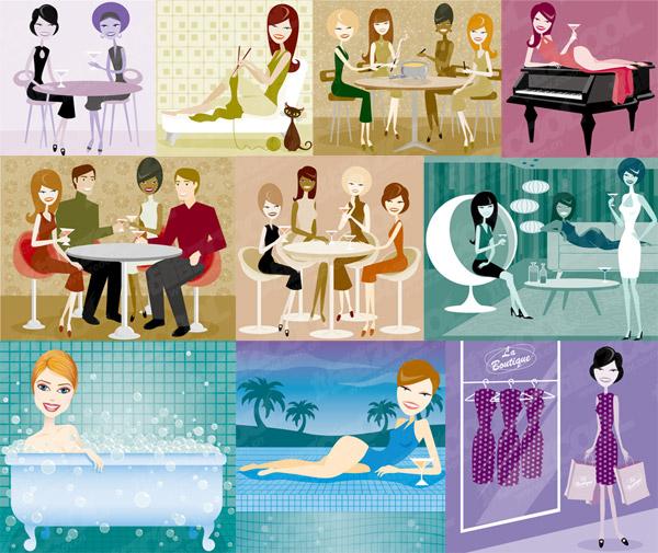 Serie-Vektor-Illustration von Männern und Frauen über moderne Material-1