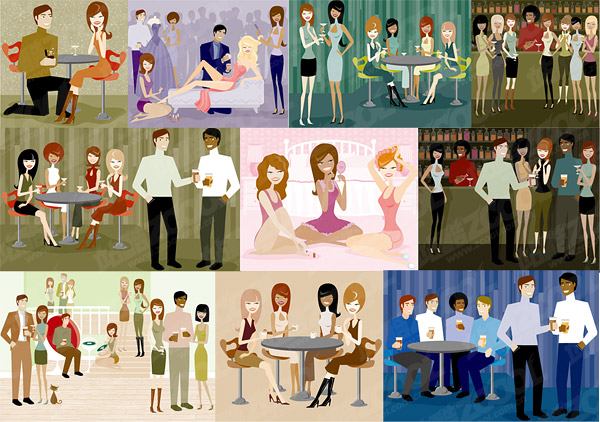 シリーズのベクトル図の男性と女性の近代的な素材-2