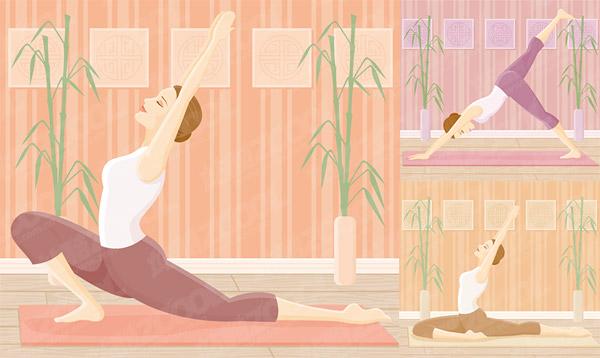 Yoga-Bewegung der weiblichen Vektor-material