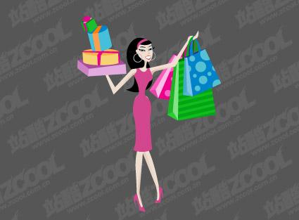 Mujeres compras de material de vectores