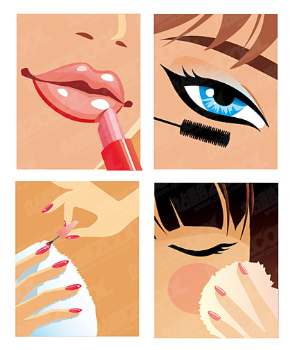 vector de material de maquillaje de las mujeres