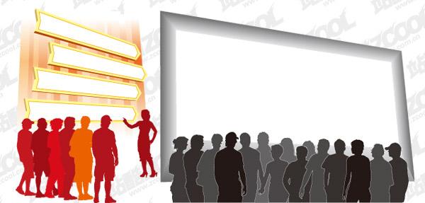 Matériau vecteur d'auditoire figures silhouette