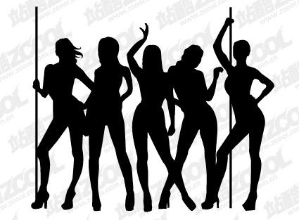 女性ダンサーのシルエットのベクター素材