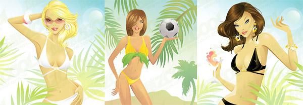 Женщин-иностранок, купальных вектор материал