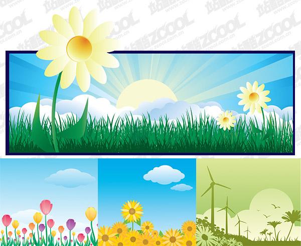 美しい花のテーマのベクトル図