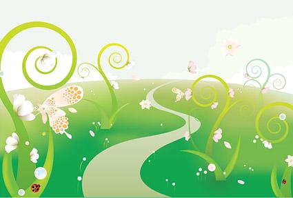 蝶花図のベクトル イラスト素材