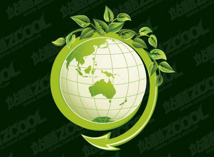 Feuilles vertes avec le vecteur de la matière de la Terre