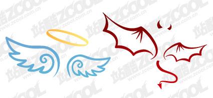 Дьявол и Ангел крылья векторный материал