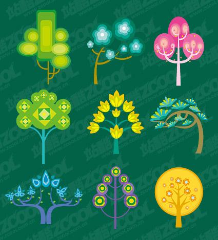 Árboles de dibujos animados lindo vector de material