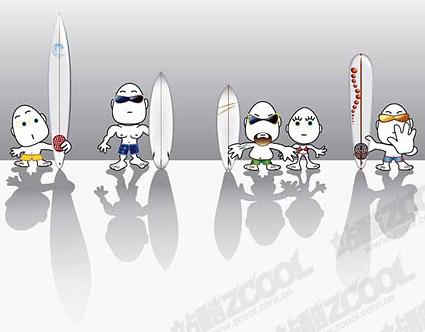 Windsurfen Cartoon-Figuren set Vektor