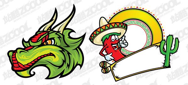 Vector de estilo de dibujos animados de México