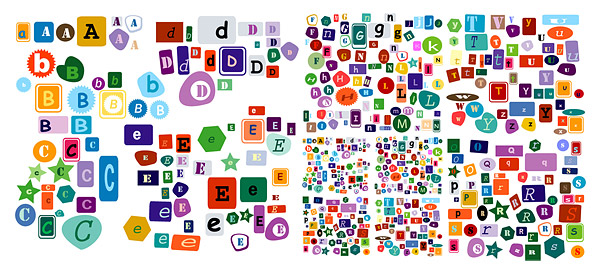 Letras do alfabeto de vetor material