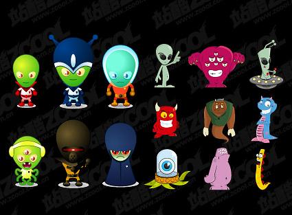 Material extraterrestre de dibujos animados de vectores