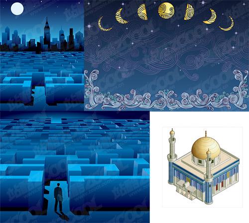 material de construcción de noche o vector