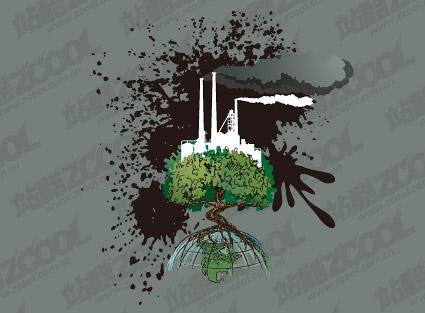 材料のベクトル イラスト、地球の汚染