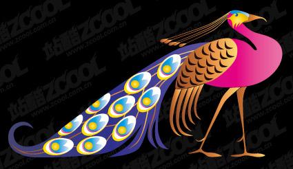 นกยูงงามเวกเตอร์วัสดุ