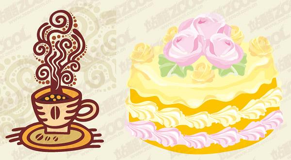 Matériau de vecteur de café et gâteaux