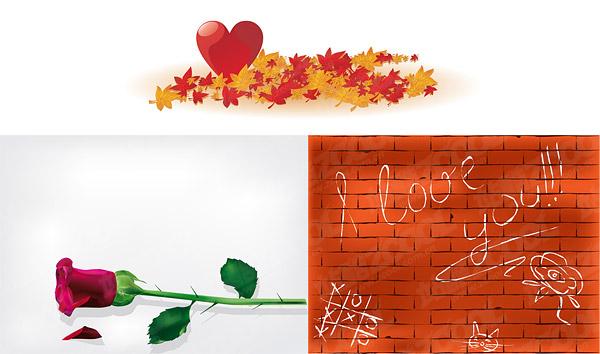 Maple Leaf pared Rosa en forma de corazón material de vectores