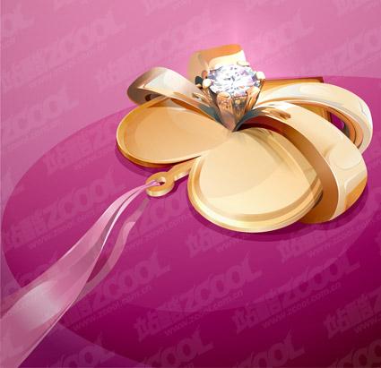 ダイヤモンド ハート型のネックレスのベクター素材