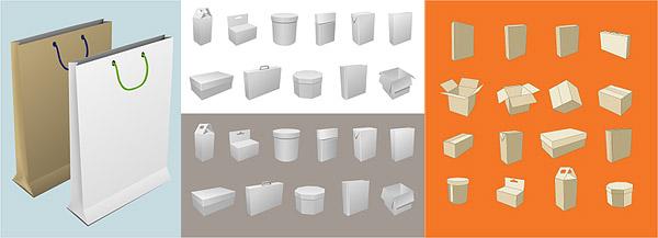 空白の箱と袋包装材料ベクトル