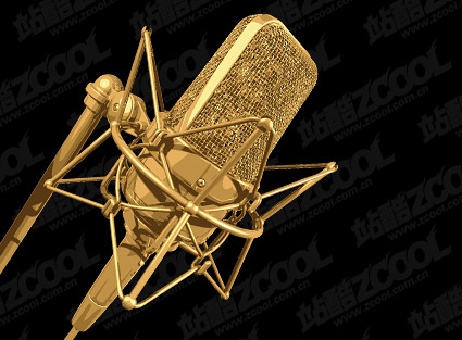 Material de vetor de microfone dourado