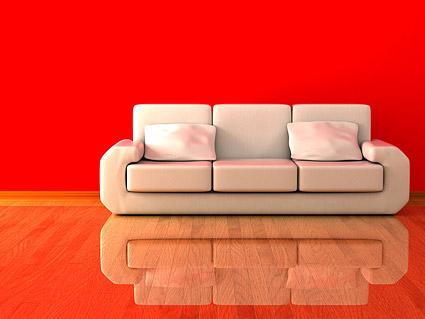 白いソファの素材の 3 D 画像
