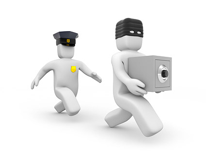 Policía 3D y los ladrones de poca imagen material