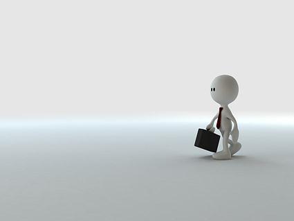 3 D 画像ビジネス素材を実行するには、小さな男