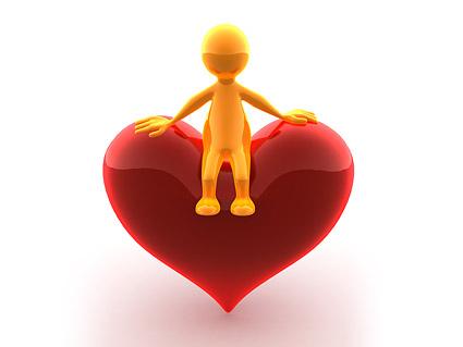 Sentado en la imagen en forma de corazón poco material 3D