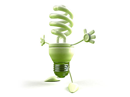 Material de imagen de niño verde bombillas de ahorro de energía