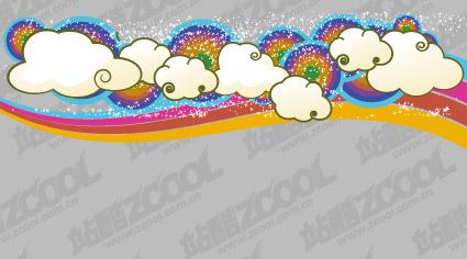 Material de apoio do arco-íris lindo nuvens tendência vector