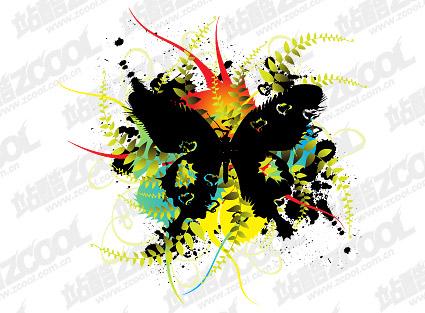 Бабочка чернила блот цветы векторного материала