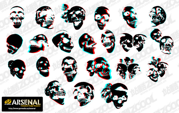 Ir material de vectores de tendencia Media producción cráneo Set13-3D