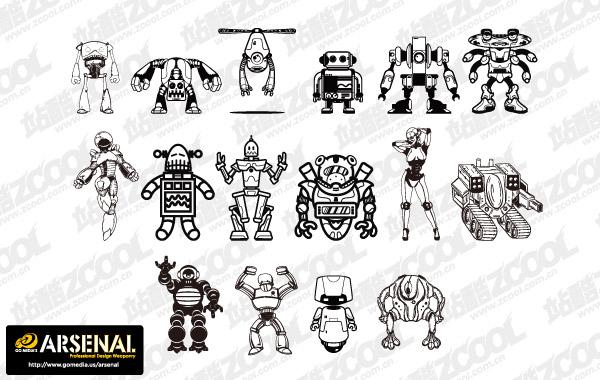 Ir material de vectores de tendencia Media producción robot Set13
