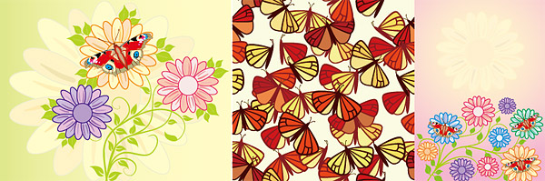 ตัวมอดและดอกไม้น่ารัก vector วัสดุ