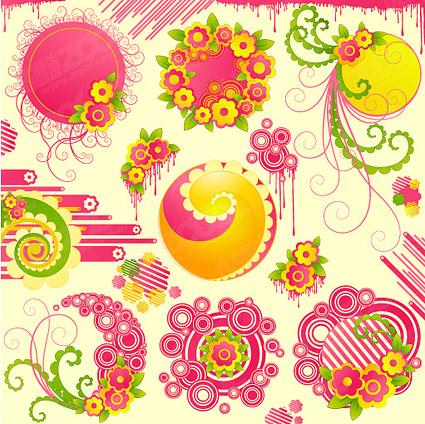 Милые розовые цветки с тенденцией вектор раунд материал