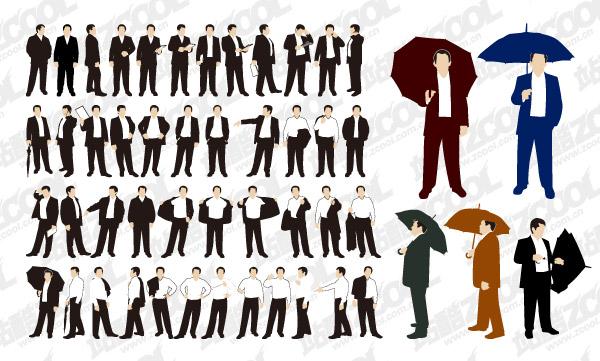 La acción de diversos negocios hombres vector material