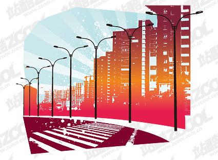 Vector de material vía urbana