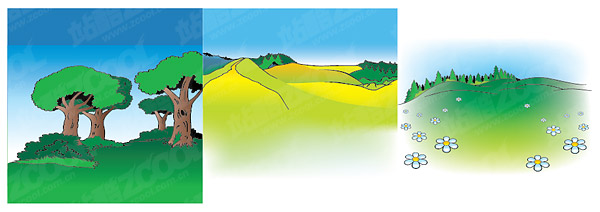 Material de paisagem de desenho vetorial