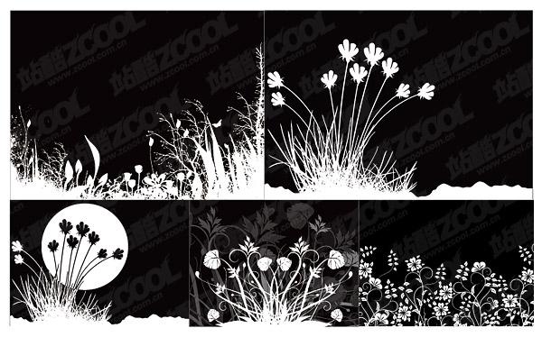花と黒と白のベクトル