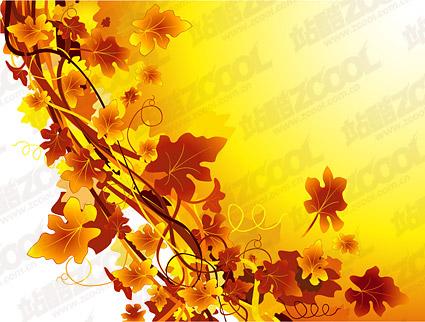 籐の植物素材ベクトルの秋に