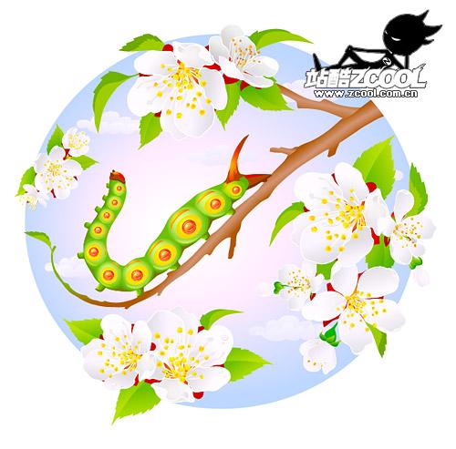花と虫のベクター素材