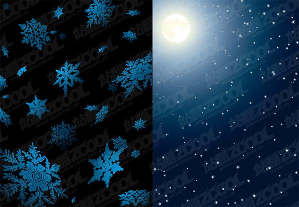 Luna y la nieve de vectores
