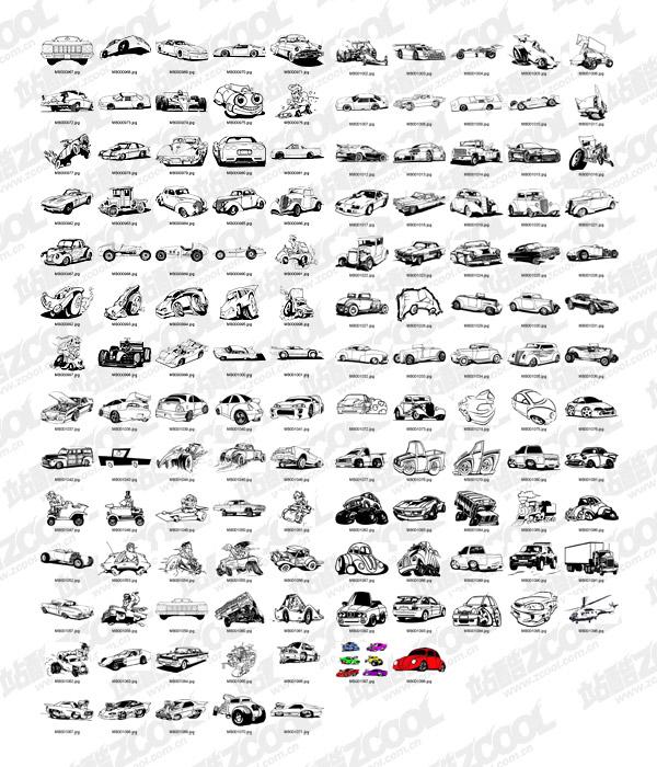 白黒のクラシック漫画自動車ベクトル デザイン素材