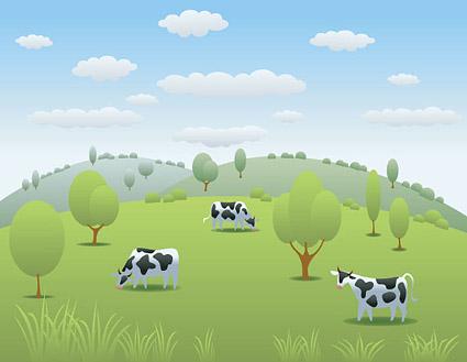 Material de pastos de vaca vector