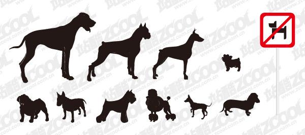 รูปเงาดำเวกเตอร์ของสุนัขวัสดุที่หลากหลาย