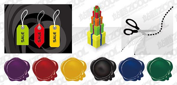 Etiqueta vector regalos materiales, tales como tijeras
